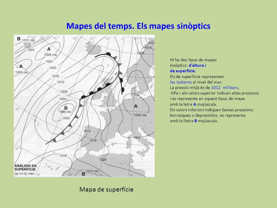 Mapes del temps. Els mapes sinòptics Hi ha dos tipus de mapes sinóptics: daltura i de superfície. Els de superfície representen les isobares al nivel