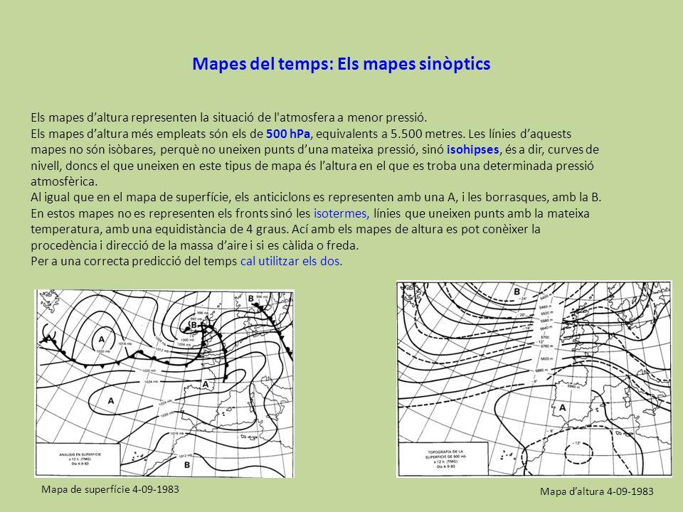 Mapes del temps: Els mapes sinòptics Els mapes daltura representen la situació de l'atmosfera a menor pressió. Els mapes daltura més empleats són els