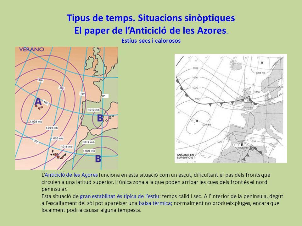 Tipus de temps. Situacions sinòptiques El paper de lAnticicló de les Azores. Estius secs i calorosos LAnticicló de les Açores funciona en esta situaci