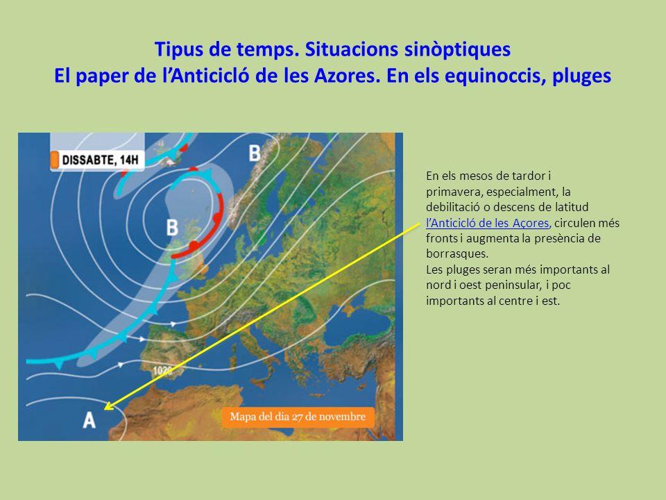 Tipus de temps. Situacions sinòptiques El paper de lAnticicló de les Azores. En els equinoccis, pluges En els mesos de tardor i primavera, especialmen