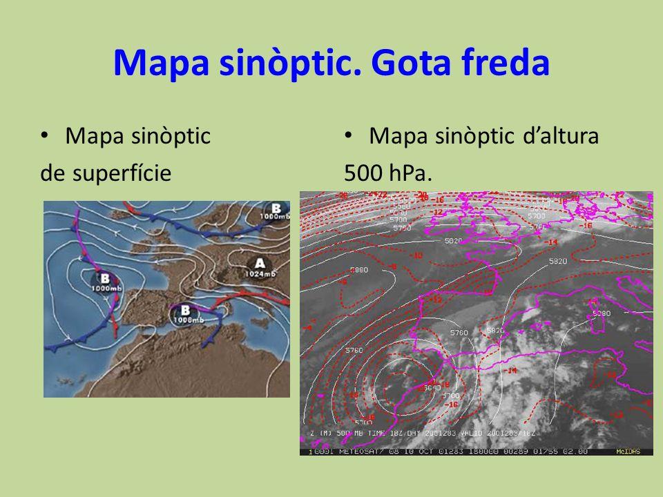 Mapa sinòptic. Gota freda Mapa sinòptic de superfície Mapa sinòptic daltura 500 hPa.