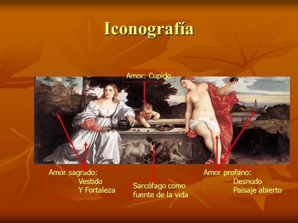 Iconografía Amor sagrado: Vestido Y Fortaleza Amor profano: Desnudo Paisaje abierto Sarcófago como fuente de la vida Amor: Cupido