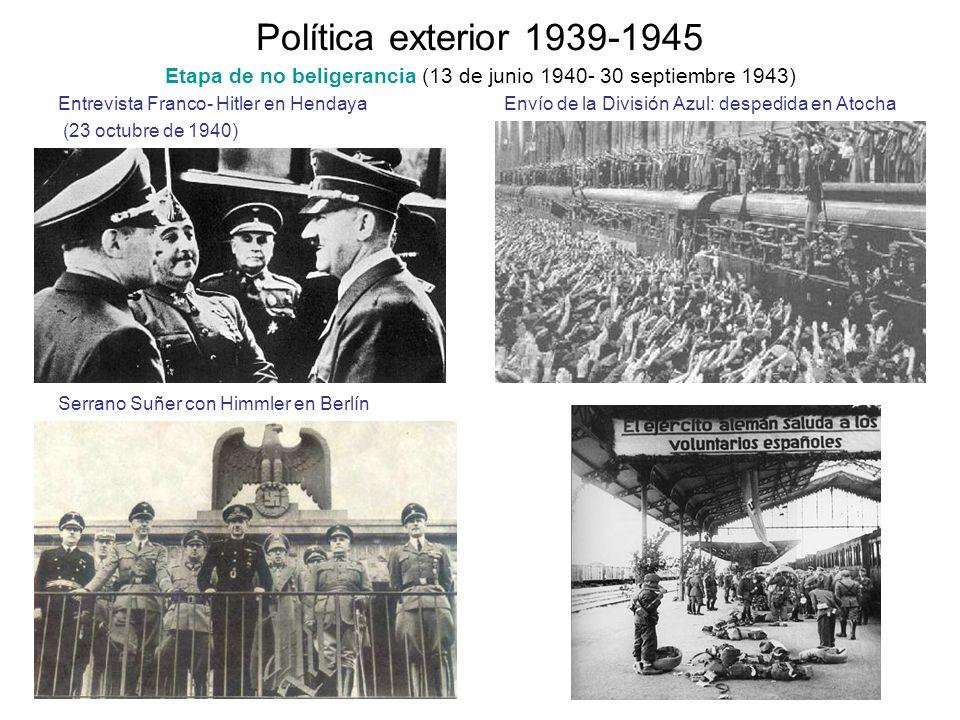 Política exterior 1939-1945 Etapa de no beligerancia (13 de junio 1940- 30 septiembre 1943) Entrevista Franco- Hitler en Hendaya Envío de la División