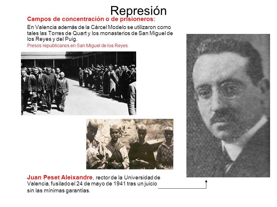 Represión Campos de concentración o de prisioneros: En Valencia además de la Cárcel Modelo se utilizaron como tales las Torres de Quart y los monaster
