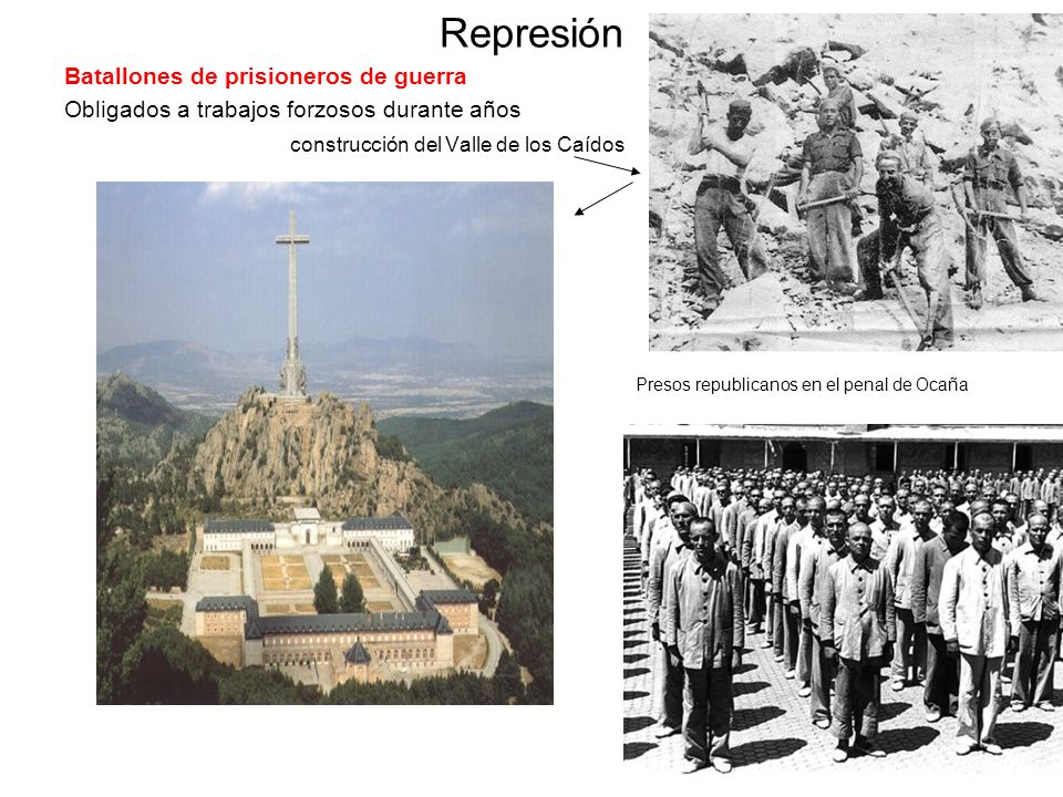 Represión Batallones de prisioneros de guerra Obligados a trabajos forzosos durante años construcción del Valle de los Caídos Presos republicanos en e