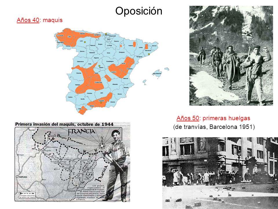 Oposición Años 40: maquis Años 50: primeras huelgas (de tranvías, Barcelona 1951)