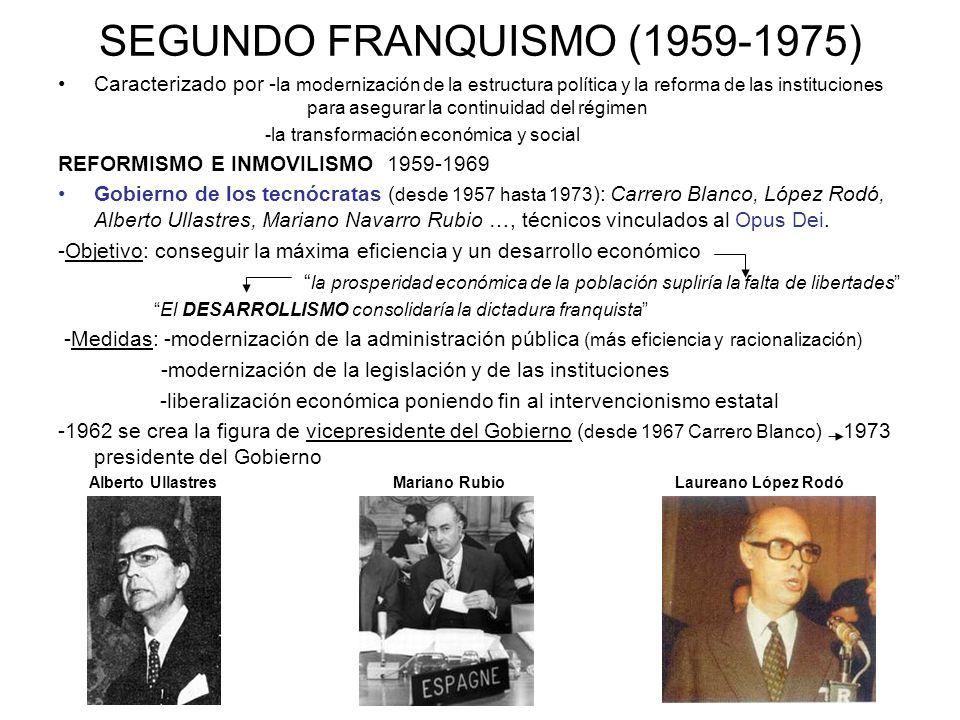SEGUNDO FRANQUISMO (1959-1975) Caracterizado por - la modernización de la estructura política y la reforma de las instituciones para asegurar la conti