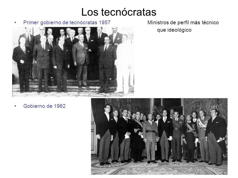 Los tecnócratas Primer gobierno de tecnócratas 1957 Ministros de perfil más técnico que ideológico Gobierno de 1962