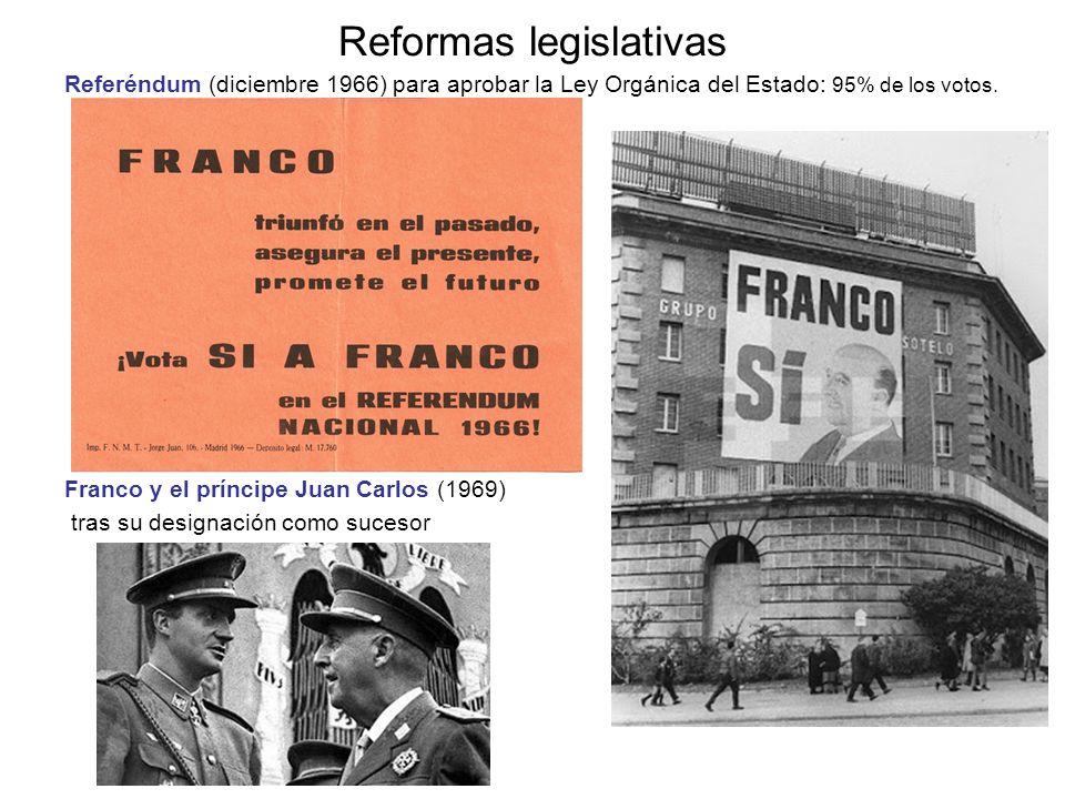 Reformas legislativas Referéndum (diciembre 1966) para aprobar la Ley Orgánica del Estado: 95% de los votos. Franco y el príncipe Juan Carlos (1969) t