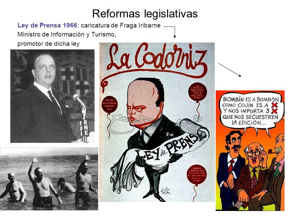 Reformas legislativas Ley de Prensa 1966: caricatura de Fraga Iribarne Ministro de Información y Turismo, promotor de dicha ley