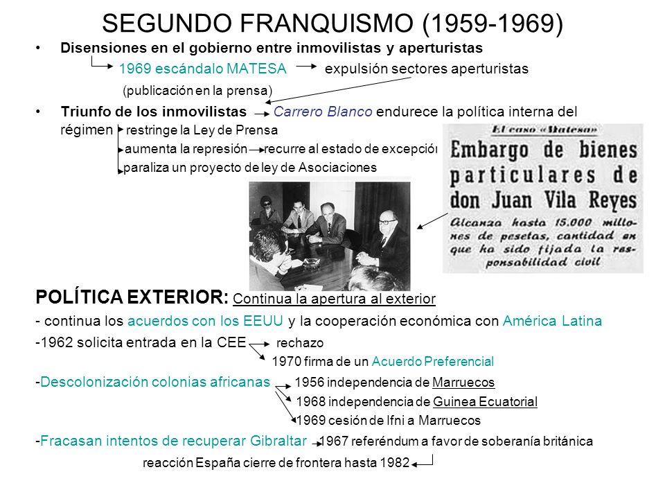 SEGUNDO FRANQUISMO (1959-1969) Disensiones en el gobierno entre inmovilistas y aperturistas 1969 escándalo MATESA expulsión sectores aperturistas (pub