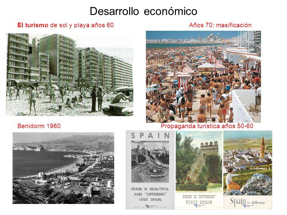 Desarrollo económico El turismo de sol y playa años 60 Años 70: masificación Benidorm 1960 Propaganda turística años 50-60
