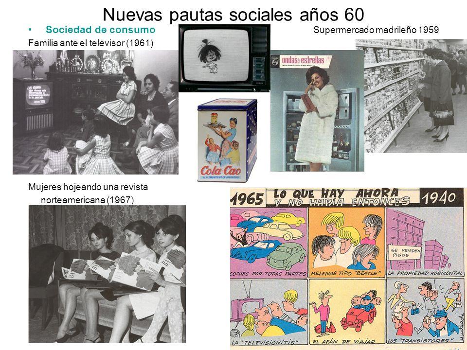 Nuevas pautas sociales años 60 Sociedad de consumo Supermercado madrileño 1959 Familia ante el televisor (1961) Mujeres hojeando una revista norteamer