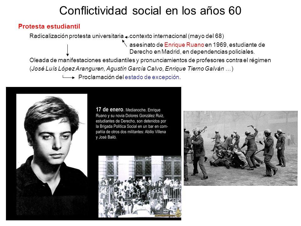 Conflictividad social en los años 60 Protesta estudiantil Radicalización protesta universitaria contexto internacional (mayo del 68) asesinato de Enri