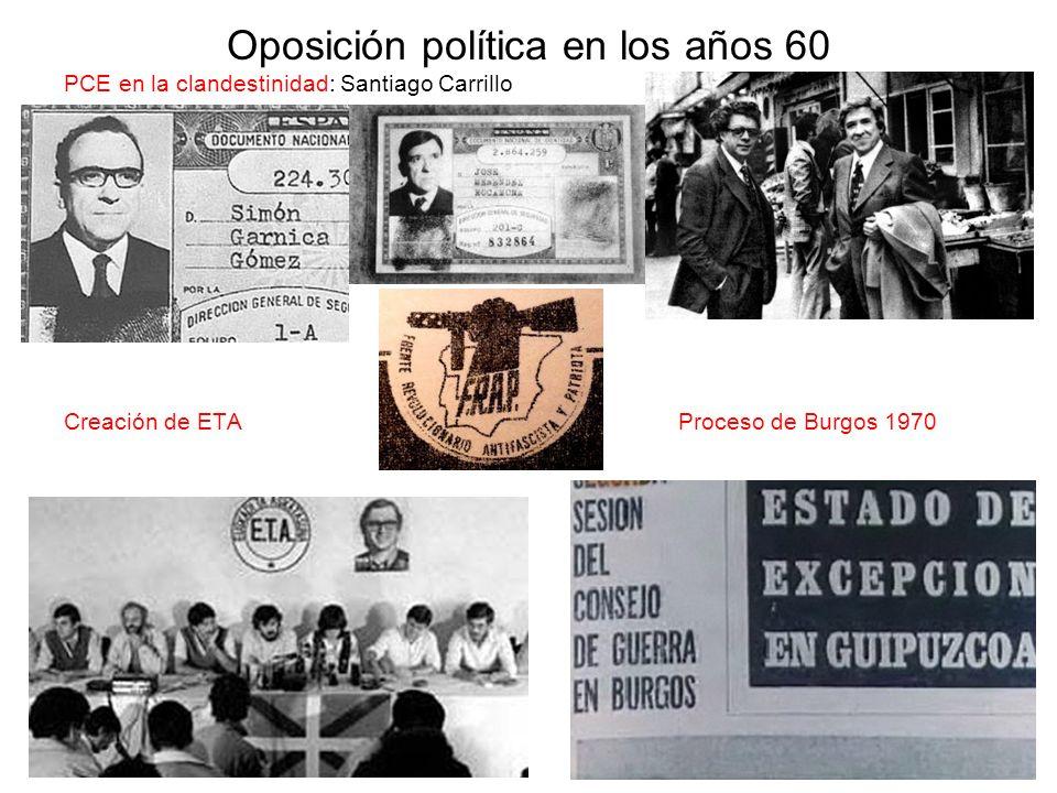 Oposición política en los años 60 PCE en la clandestinidad: Santiago Carrillo Creación de ETA Proceso de Burgos 1970