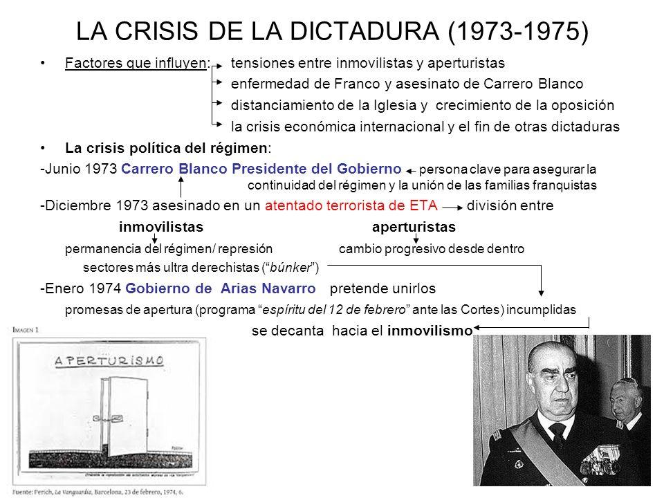 LA CRISIS DE LA DICTADURA (1973-1975) Factores que influyen: tensiones entre inmovilistas y aperturistas enfermedad de Franco y asesinato de Carrero B