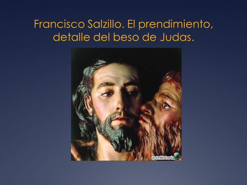 Francisco Salzillo. El prendimiento, detalle del beso de Judas.