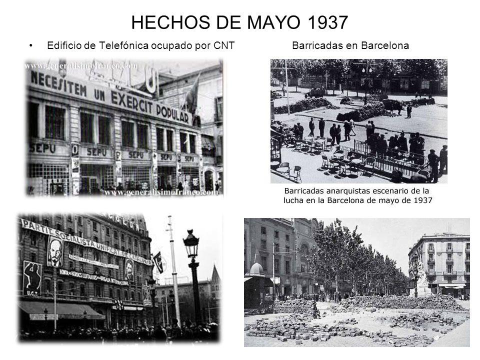HECHOS DE MAYO 1937 Edificio de Telefónica ocupado por CNT Barricadas en Barcelona