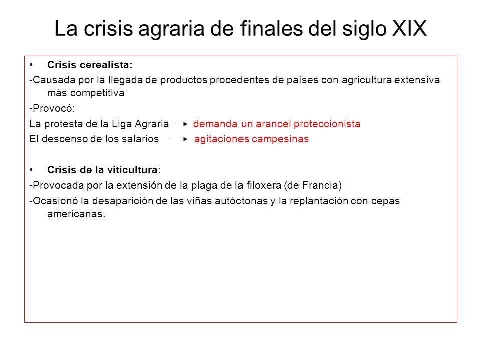 La crisis agraria de finales del siglo XIX Crisis cerealista: -Causada por la llegada de productos procedentes de países con agricultura extensiva más