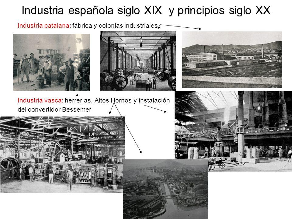 Industria española siglo XIX y principios siglo XX Industria catalana: fábrica y colonias industriales Industria vasca: herrerías, Altos Hornos y inst