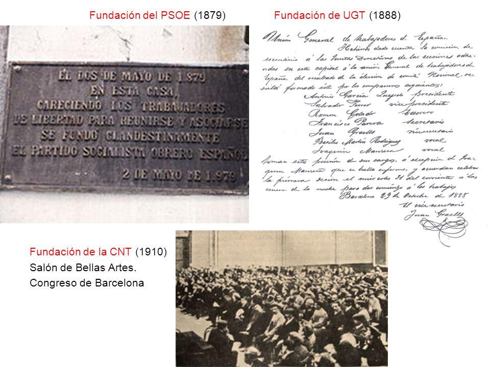 Fundación del PSOE (1879) Fundación de UGT (1888) Fundación de la CNT (1910) Salón de Bellas Artes. Congreso de Barcelona