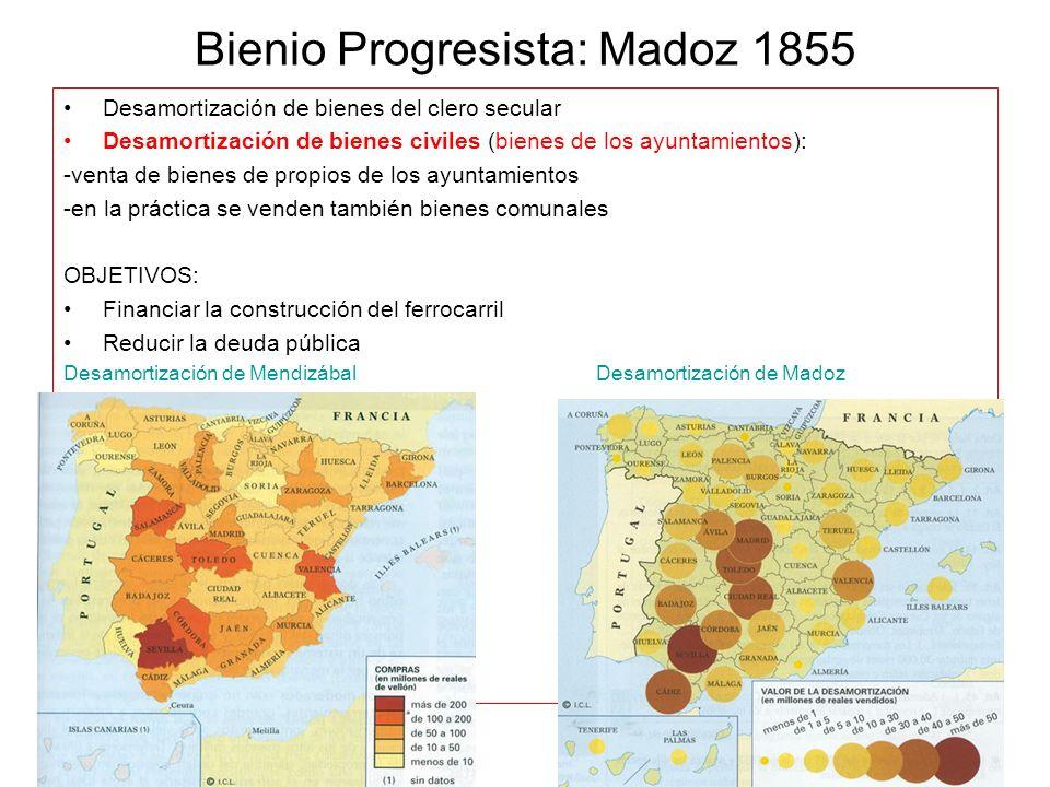 Bienio Progresista: Madoz 1855 Desamortización de bienes del clero secular Desamortización de bienes civiles (bienes de los ayuntamientos): -venta de
