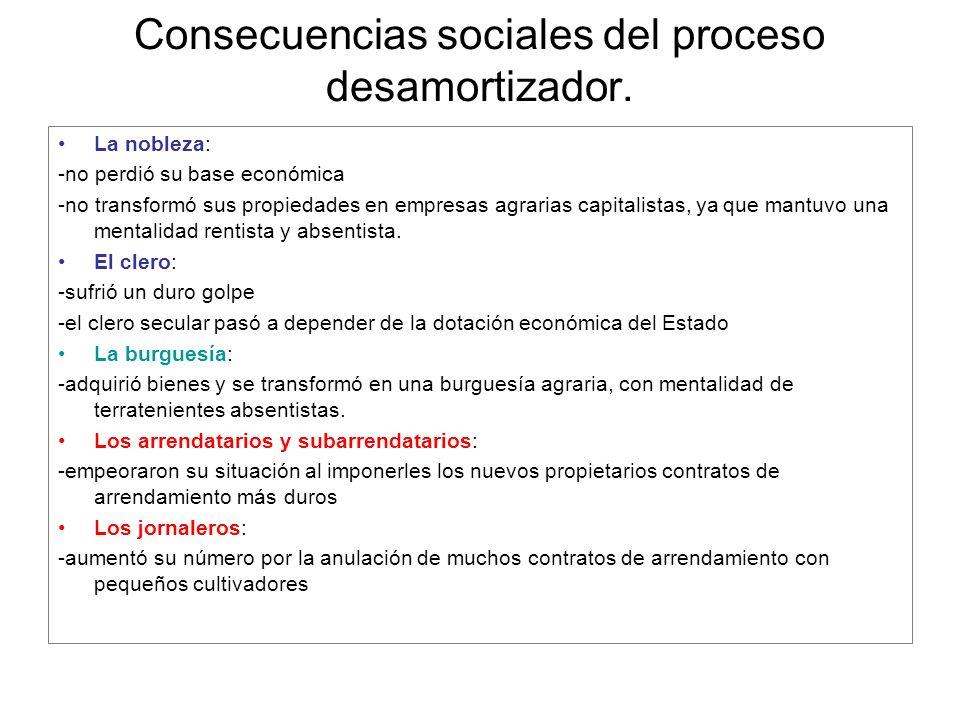 Consecuencias sociales del proceso desamortizador. La nobleza: -no perdió su base económica -no transformó sus propiedades en empresas agrarias capita