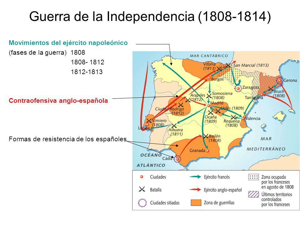 Guerra de la Independencia (1808-1814) Movimientos del ejército napoleónico (fases de la guerra) 1808 1808- 1812 1812-1813 Contraofensiva anglo-españo