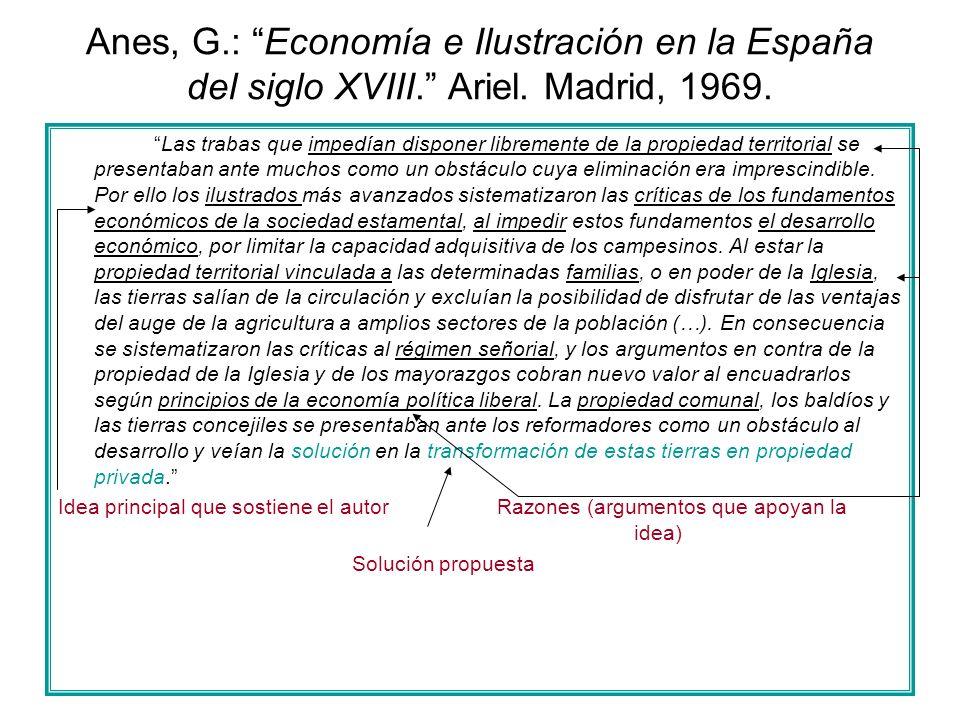 Anes, G.: Economía e Ilustración en la España del siglo XVIII. Ariel. Madrid, 1969. Las trabas que impedían disponer libremente de la propiedad territ