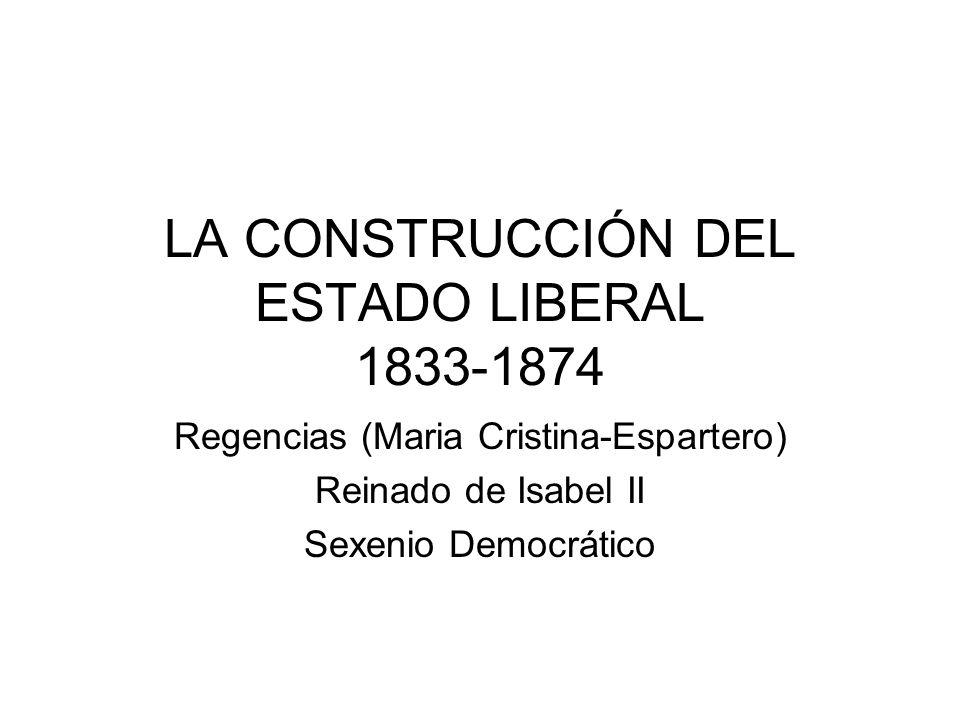 LA CONSTRUCCIÓN DEL ESTADO LIBERAL 1833-1874 Regencias (Maria Cristina-Espartero) Reinado de Isabel II Sexenio Democrático