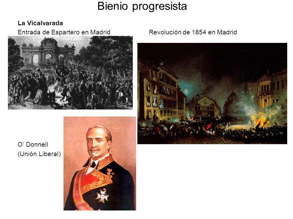 Bienio progresista La Vicalvarada Entrada de Espartero en Madrid Revolución de 1854 en Madrid O Donnell (Unión Liberal)
