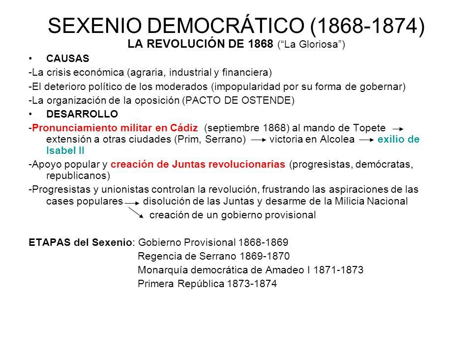 SEXENIO DEMOCRÁTICO (1868-1874) LA REVOLUCIÓN DE 1868 (La Gloriosa) CAUSAS -La crisis económica (agraria, industrial y financiera) -El deterioro polít