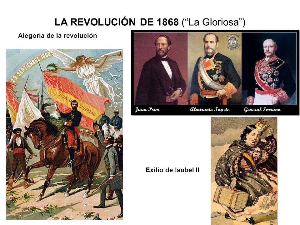 LA REVOLUCIÓN DE 1868 (La Gloriosa) Alegoría de la revolución Exilio de Isabel II