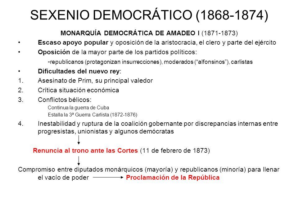 SEXENIO DEMOCRÁTICO (1868-1874) MONARQUÍA DEMOCRÁTICA DE AMADEO I (1871-1873) Escaso apoyo popular y oposición de la aristocracia, el clero y parte de
