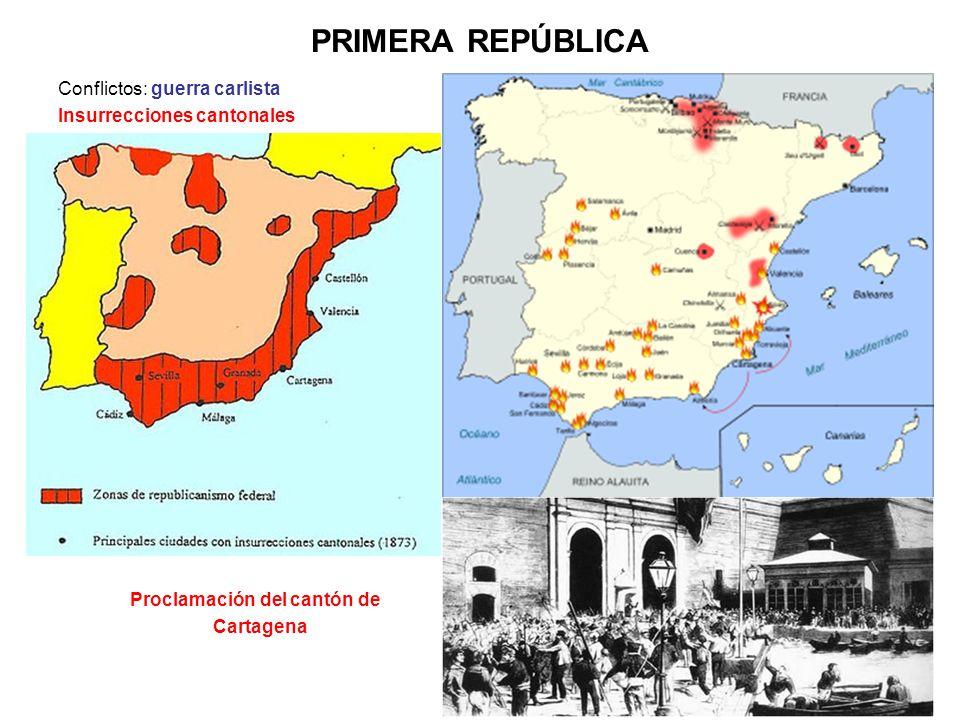 PRIMERA REPÚBLICA Conflictos: guerra carlista Insurrecciones cantonales Proclamación del cantón de Cartagena