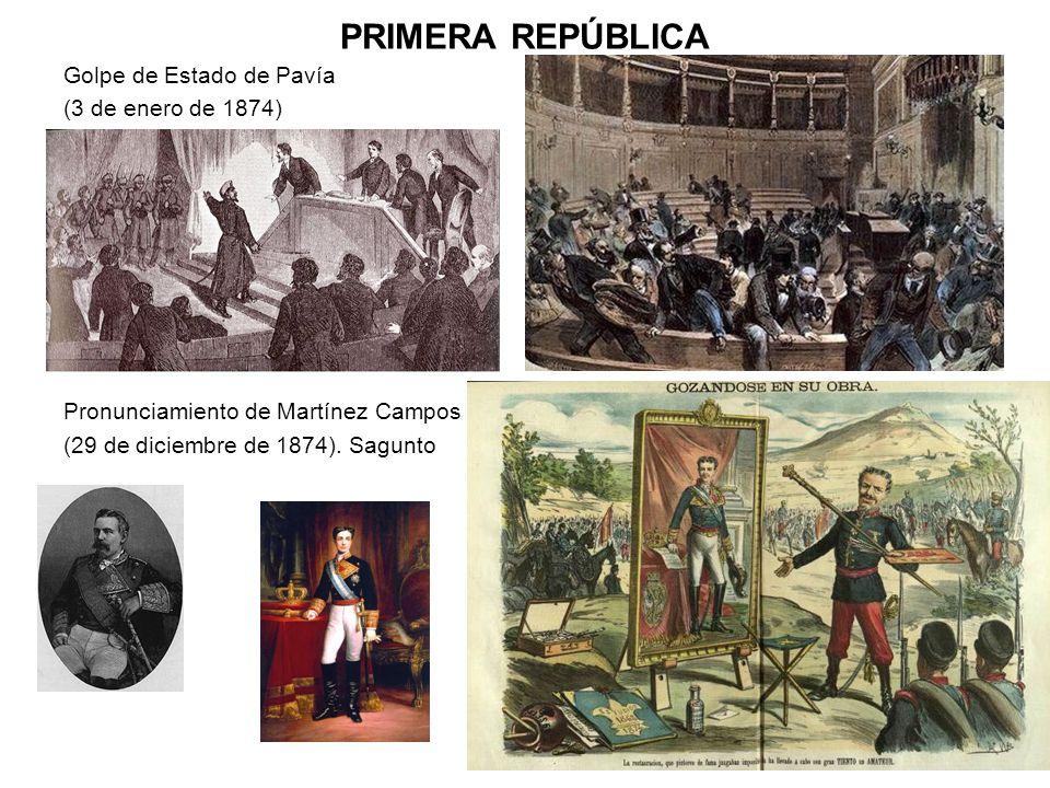 PRIMERA REPÚBLICA Golpe de Estado de Pavía (3 de enero de 1874) Pronunciamiento de Martínez Campos (29 de diciembre de 1874). Sagunto