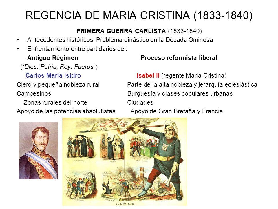 REGENCIA DE MARIA CRISTINA (1833-1840) PRIMERA GUERRA CARLISTA (1833-1840) Antecedentes históricos: Problema dinástico en la Década Ominosa Enfrentami