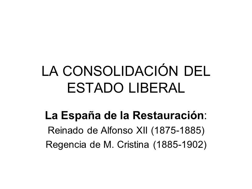 LA CONSOLIDACIÓN DEL ESTADO LIBERAL La España de la Restauración: Reinado de Alfonso XII (1875-1885) Regencia de M. Cristina (1885-1902)