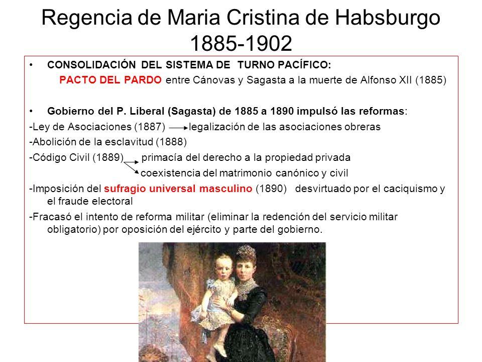Regencia de Maria Cristina de Habsburgo 1885-1902 CONSOLIDACIÓN DEL SISTEMA DE TURNO PACÍFICO: PACTO DEL PARDO entre Cánovas y Sagasta a la muerte de