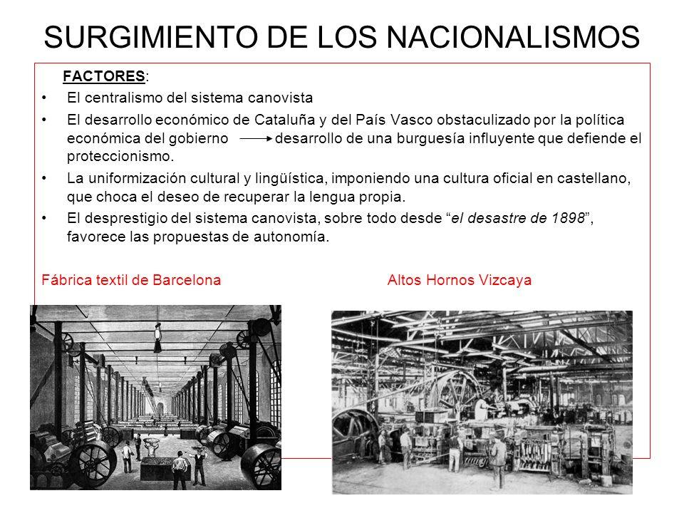 SURGIMIENTO DE LOS NACIONALISMOS FACTORES: El centralismo del sistema canovista El desarrollo económico de Cataluña y del País Vasco obstaculizado por