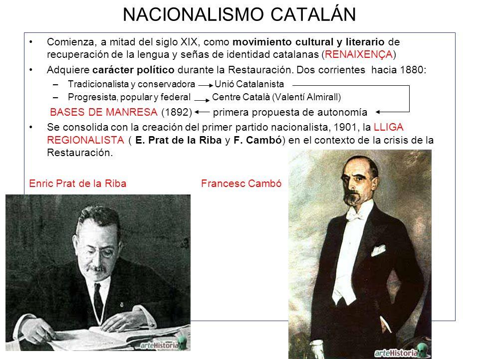 NACIONALISMO CATALÁN Comienza, a mitad del siglo XIX, como movimiento cultural y literario de recuperación de la lengua y señas de identidad catalanas