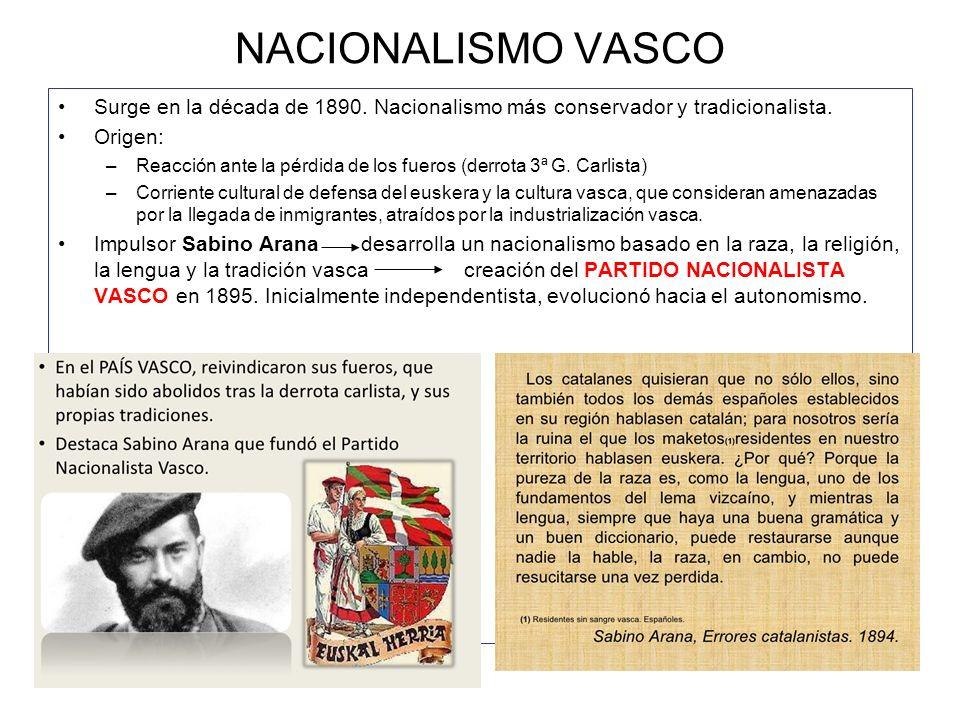 NACIONALISMO VASCO Surge en la década de 1890. Nacionalismo más conservador y tradicionalista. Origen: –Reacción ante la pérdida de los fueros (derrot