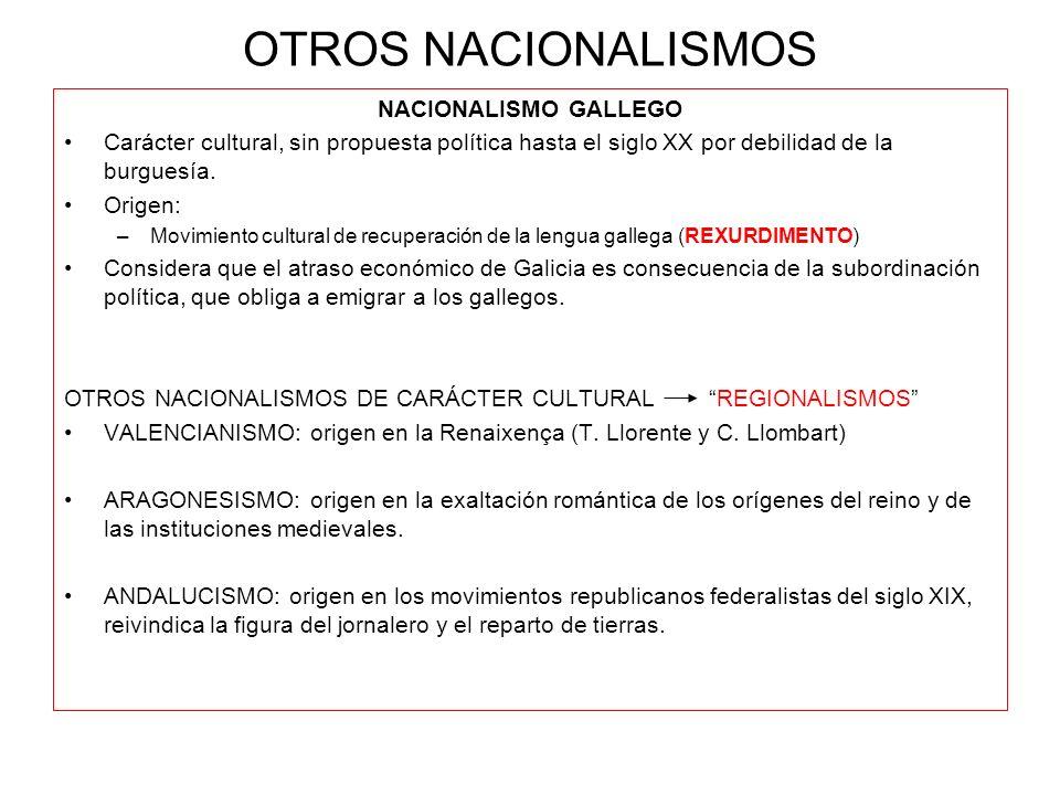 OTROS NACIONALISMOS NACIONALISMO GALLEGO Carácter cultural, sin propuesta política hasta el siglo XX por debilidad de la burguesía. Origen: –Movimient