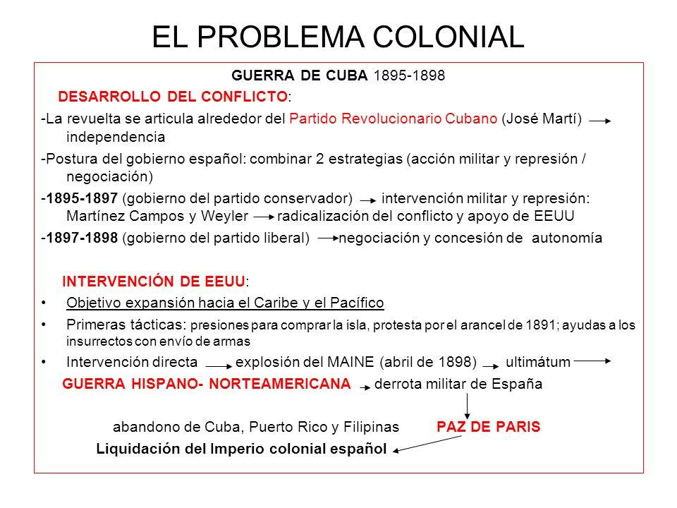 EL PROBLEMA COLONIAL GUERRA DE CUBA 1895-1898 DESARROLLO DEL CONFLICTO: -La revuelta se articula alrededor del Partido Revolucionario Cubano (José Mar