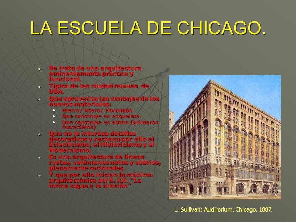 LA ESCUELA DE CHICAGO. Se trata de una arquitectura eminentemente práctica y funcional. Se trata de una arquitectura eminentemente práctica y funciona