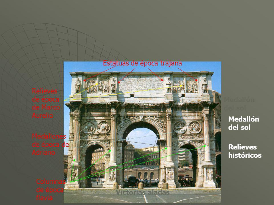 Estatuas de época trajana Relieves de época de Marco Aurelio Victorias aladas Medallones de época de Adriano Columnas de época flavia Medallón del sol