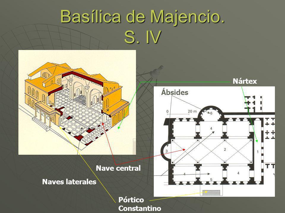 Basílica de Majencio. S. IV Naves laterales Nave central Ábsides Nártex Pórtico Constantino