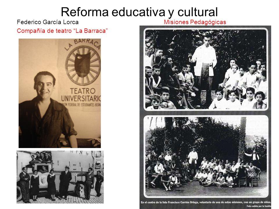 Reforma educativa y cultural Federico García Lorca Misiones Pedagógicas Compañía de teatro La Barraca