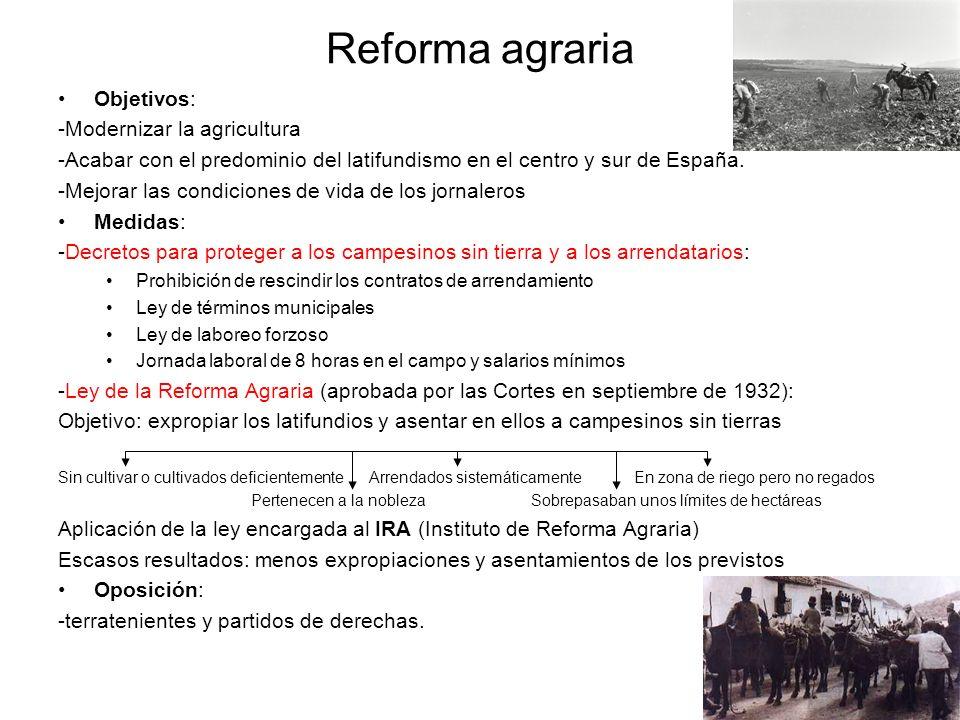 Reforma agraria Objetivos: -Modernizar la agricultura -Acabar con el predominio del latifundismo en el centro y sur de España. -Mejorar las condicione
