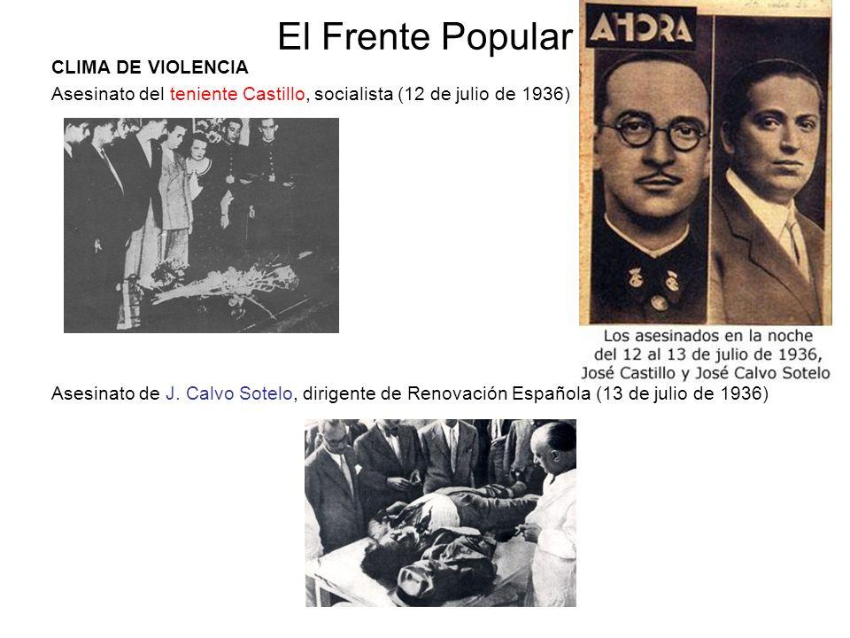 El Frente Popular CLIMA DE VIOLENCIA Asesinato del teniente Castillo, socialista (12 de julio de 1936) Asesinato de J. Calvo Sotelo, dirigente de Reno
